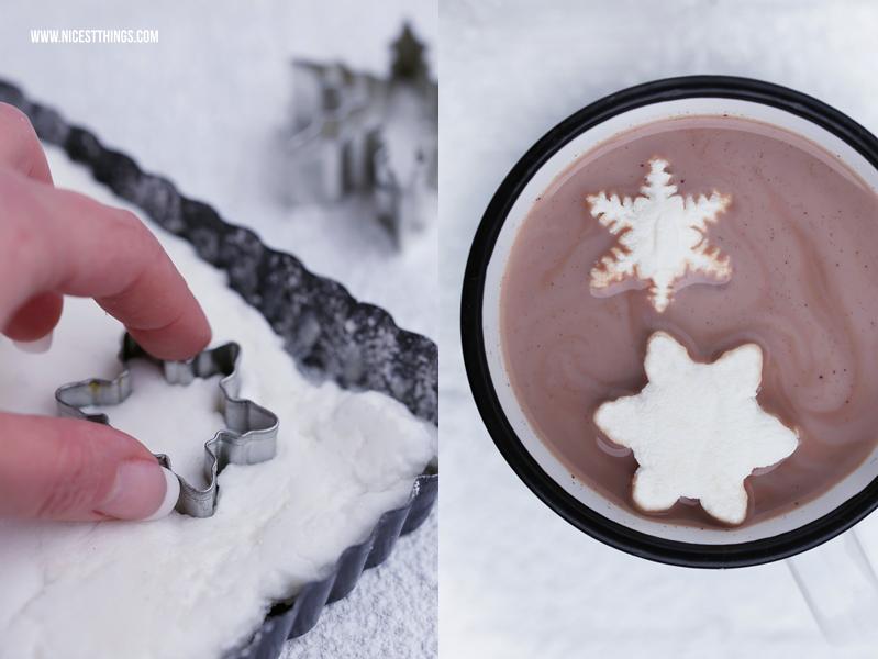 Schneeflocken Marshmallows selber machen Marshmallows Rezept