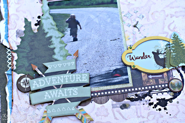 Adventure Awaits Scrapbook Page featuring Take A Hike collection by BoBunny designed by Rhonda Van Ginkel with Mixed Media Accents
