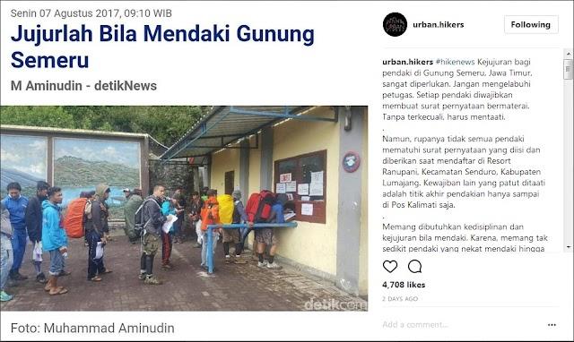 Porter Rinjani, Batas Maksimal Pendakian Di Gunung Semeru