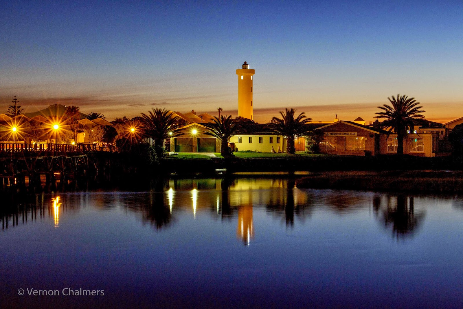 Copyright Vernon Chalmers Lighthouse over Milnerton Lagoon / Woodbridge Island Cape Town