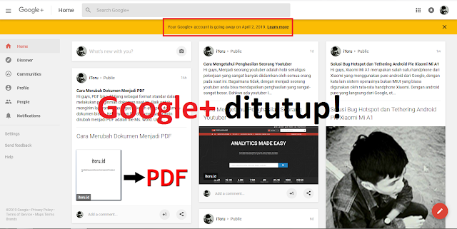Google Plus Akan Ditutup Pada 02 April 2019