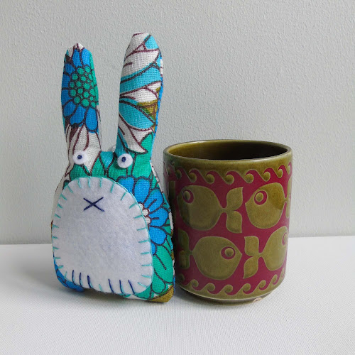 handmade vintage fabric rabbit shaped lavender sachet