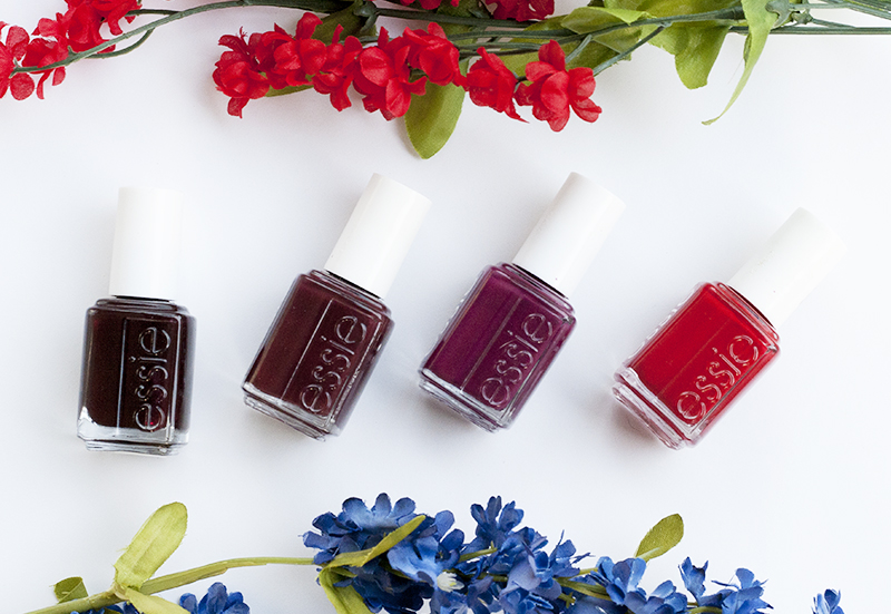 essie nail polish, fall red nail polish, wicked, forever yummy, shearling darling, bahama mama