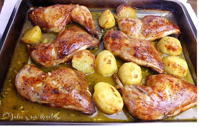 Pollo asado a la naranja. Julia y sus recetas