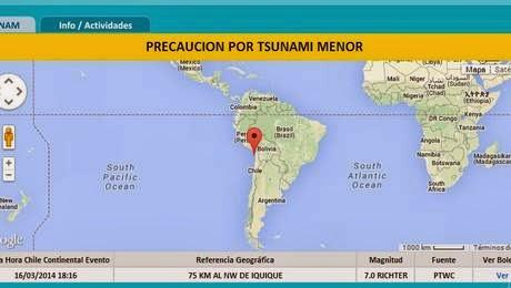 TERREMOTO DE 7,0 GRADOS SACUDE NORTE DE CHILE - ALERTA DE TSUNAMI MENOR, 16 DE MARZO 2014