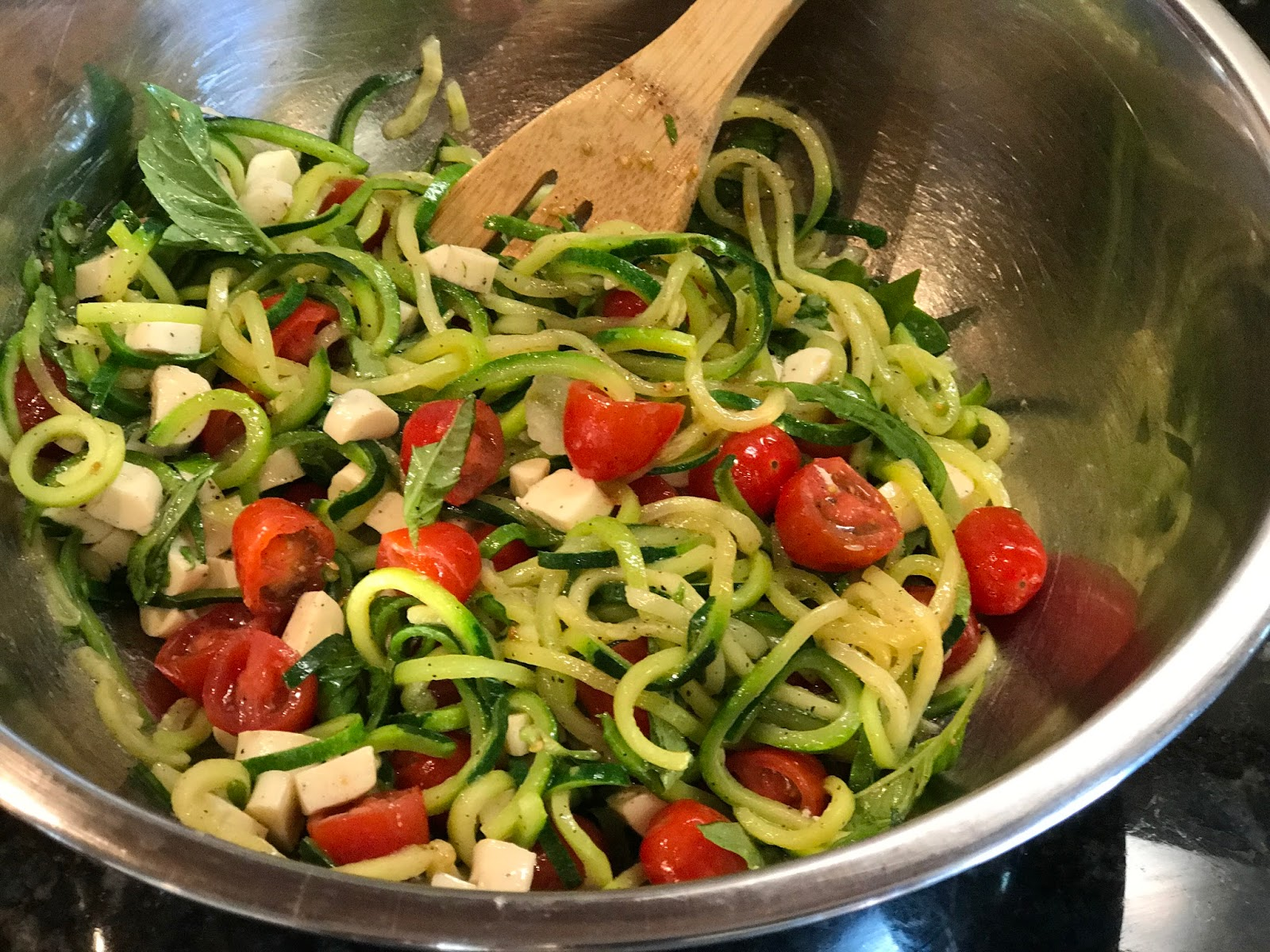 Crowded Kitchen Caprese Zucchini Noodle Salad