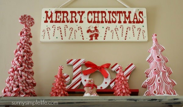 merry christmas sign, candy cane candy decor