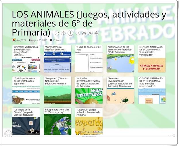 """""""13 Juegos, actividades y materiales para el estudio de LOS ANIMALES en 6º de Primaria"""""""