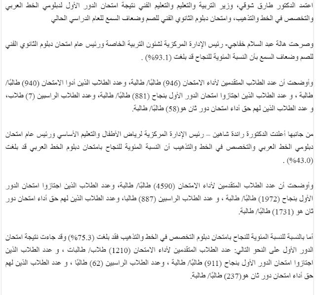 نتيجة دبلوم الخط العربى 2018 | وزارة التربية والتعليم