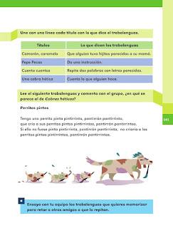 Apoyo Primaria Español 1er grado Bimestre 4 lección 8 Otros trabalenguas