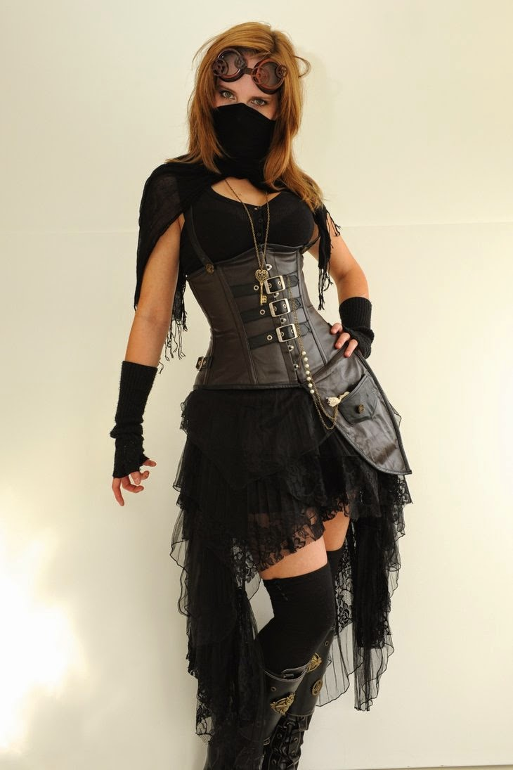 steampunk female with leather corset, boots, mask, goggles and skirt