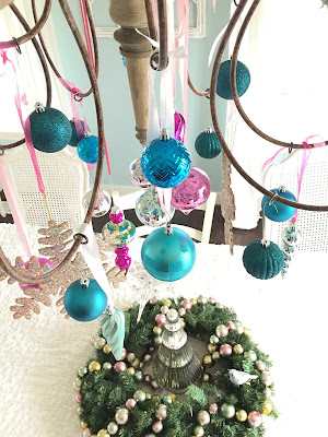 Christmas chandelier, hang ornaments from Chandelier