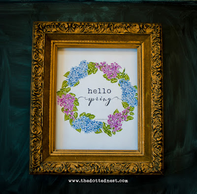 Hydrangea Spring Floral Wreath Wall Art