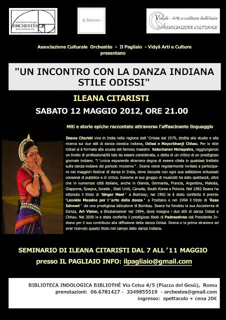 roma ileana citaristi spettacolo stage workshop odissi