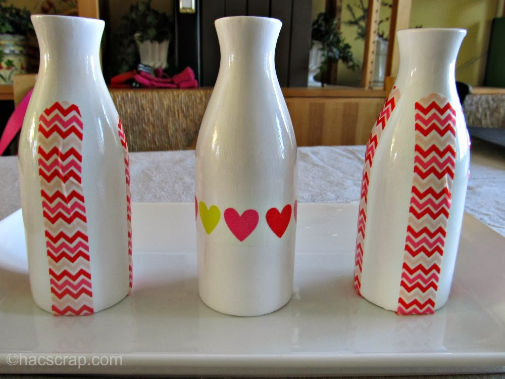 milk bottles decorated with washi