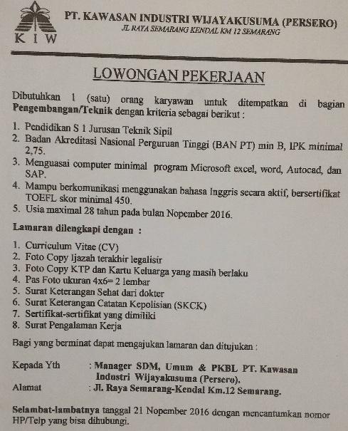 Lowongan Kerja Terbaru, Lowongan PT Kawasan Industri Wijayakusuma (Persero), LowonganHingga 21 Nov 2016