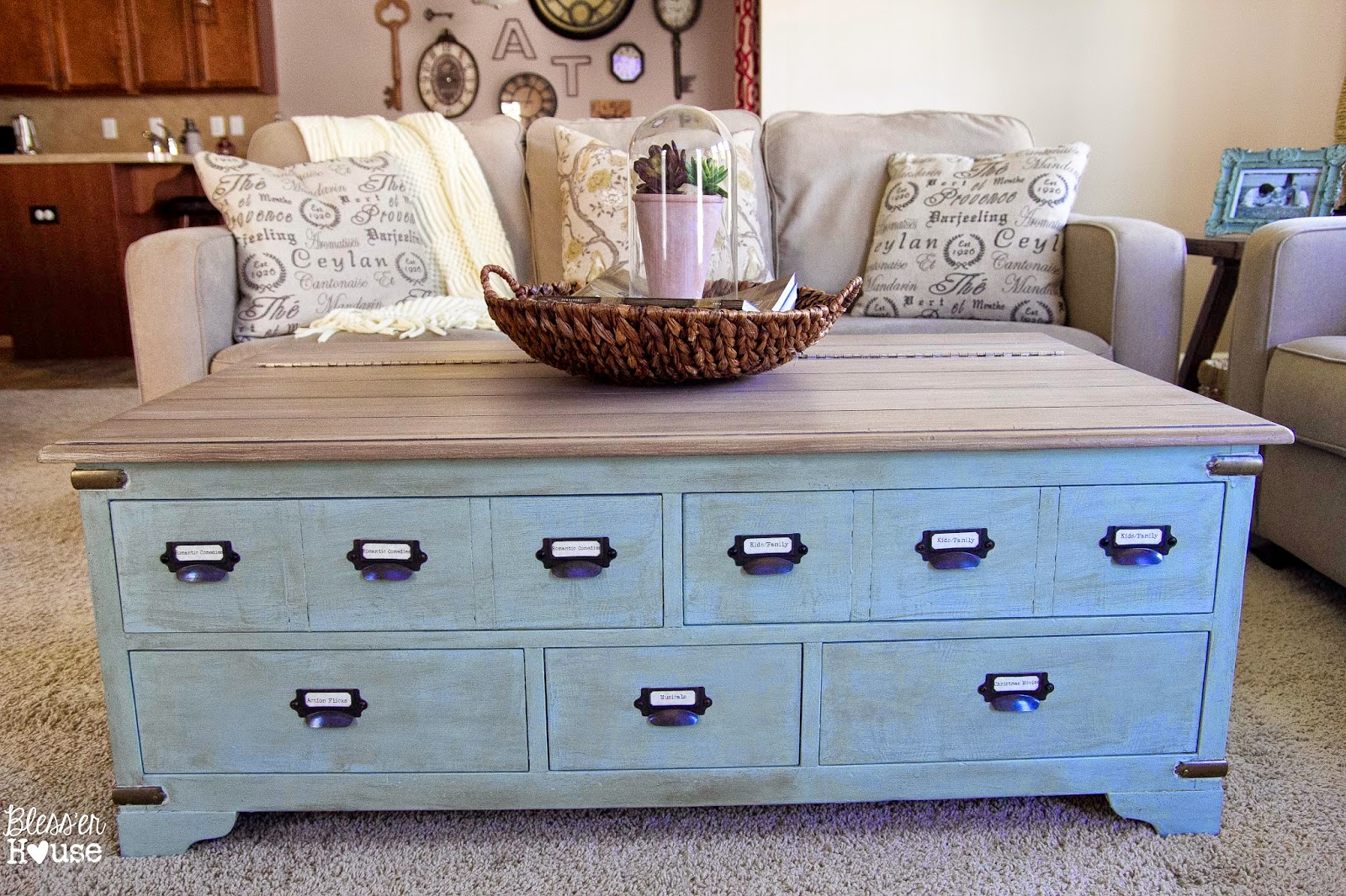 Faux planked coffee table makeover card catalog style for Coffee table makeover ideas