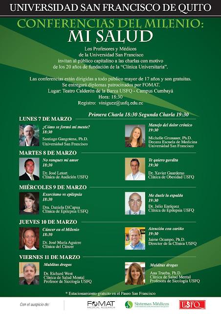 Conferencias del Milenio: Mi Salud, desde el lunes 7 hasta el viernes 11 de marzo, teatro Calderón de la Barca, 18:30