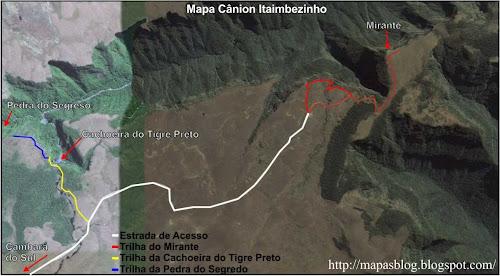 Mapa das trilhas do Cânion Fortaleza - Cambará do Sul - RS