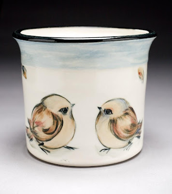 porcelain utensil jar with birds