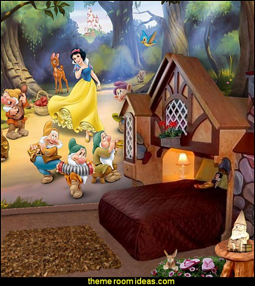 snow white wall mural cottage bed snow white theme bedroom decorating ideas