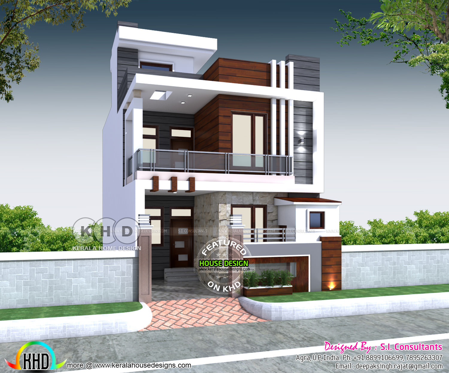 23x 55 House Plan With 3 Bedrooms Kerala Home Design And