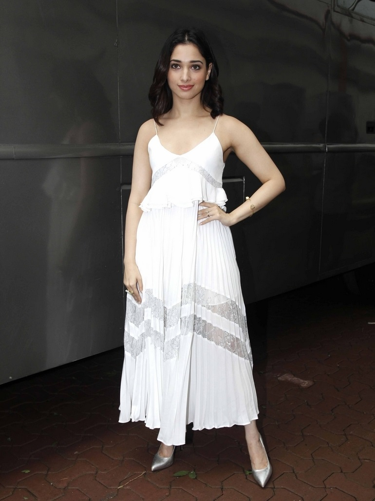 Glamours Telugu Girl Tamannaah Photo shoot In White Dress At Dance Show