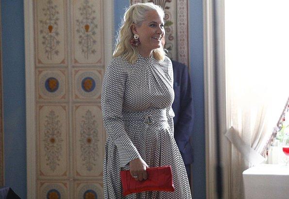 Crown Princess Mette-Marit wore DIANE VON FURSTENBERG Rowe dot print stretch silk dress. Queen Sonja, Crown Prince Haakon at SIKT conference