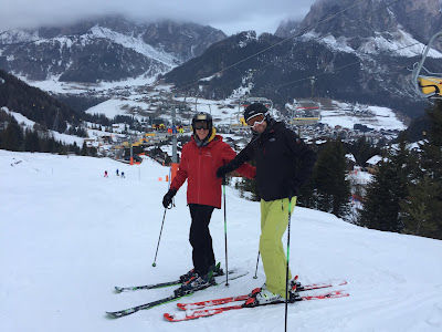 Skiing above Corvara in Badia.