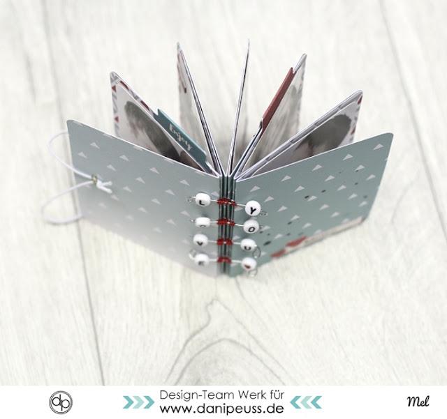 Tutorial Minialbum mit verspielter Bindung |Videoanleitung von Melanie Hoch für www.danipeuss.de #minialbum #tutorial #dpkit #bastelanleitung