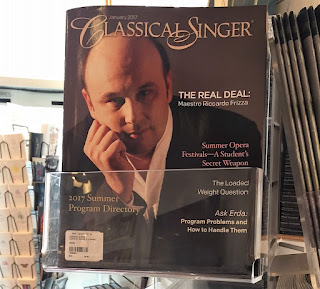Cover Boy: Italian conductor RICCARDO FRIZZA graces the cover of the January 2017 issue of CLASSICAL SINGER magazine, celebrating his Lyric Opera of Chicago début in Bellini's NORMA