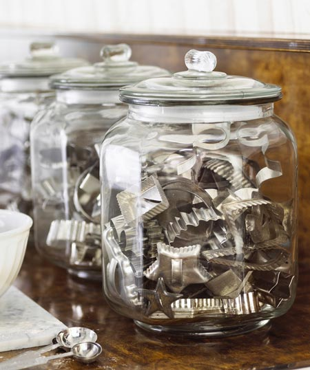 Glass jars, organized kitchen