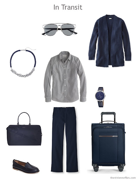 travel outfit in navy and grey