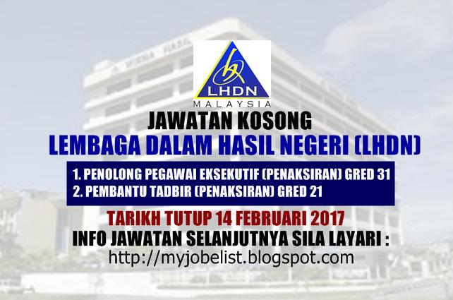 Jawatan Kosong Lembaga Hasil Dalam Negeri (LHDN) Februari 2017