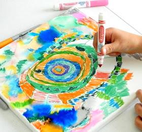 kids sharpie and crayola art on canvas