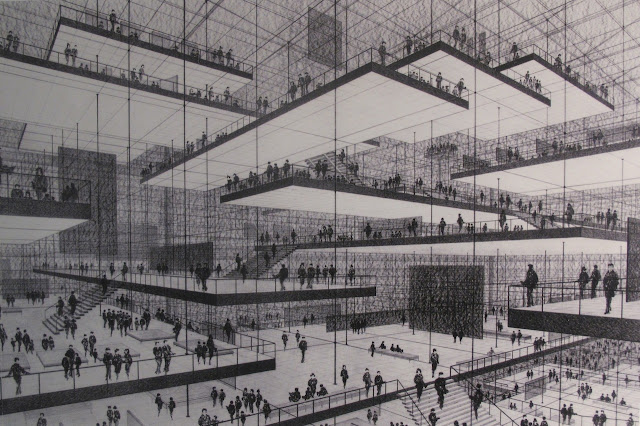 Conrad Roland | Drawing of an exhibition hall with floating levels | 1963