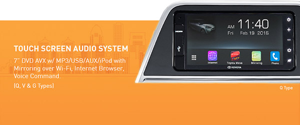 Audio Toyota All New Sienta AVX 7 Touch screen dengan fitur canggih Miracast, Air Play, Internet, Hand Gesture, Voice Command, Bluetooth, DVD + Remote (Tipe G, V, Q)