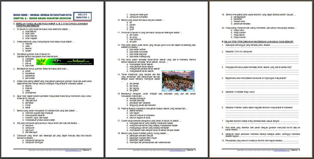 Download Soal Tematik Kelas 5 Semester 2 Tema 9 Subtema 2 Benda Benda Di Sekitar Kita Benda Dalam Kegiatan Ekonomi Edisi Terbaru Rief Awa Blog