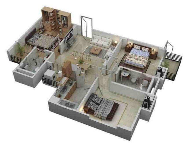 denah rumah 3 kamar tidur 1 lantai 3D 4