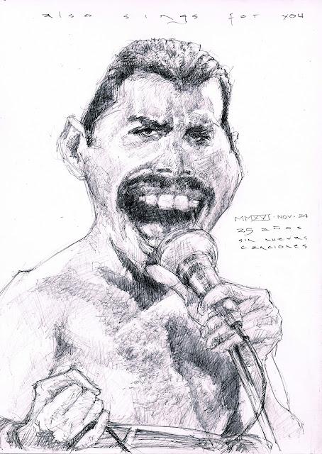 Freddie Mercury Queen singer caricatur fede bengoa