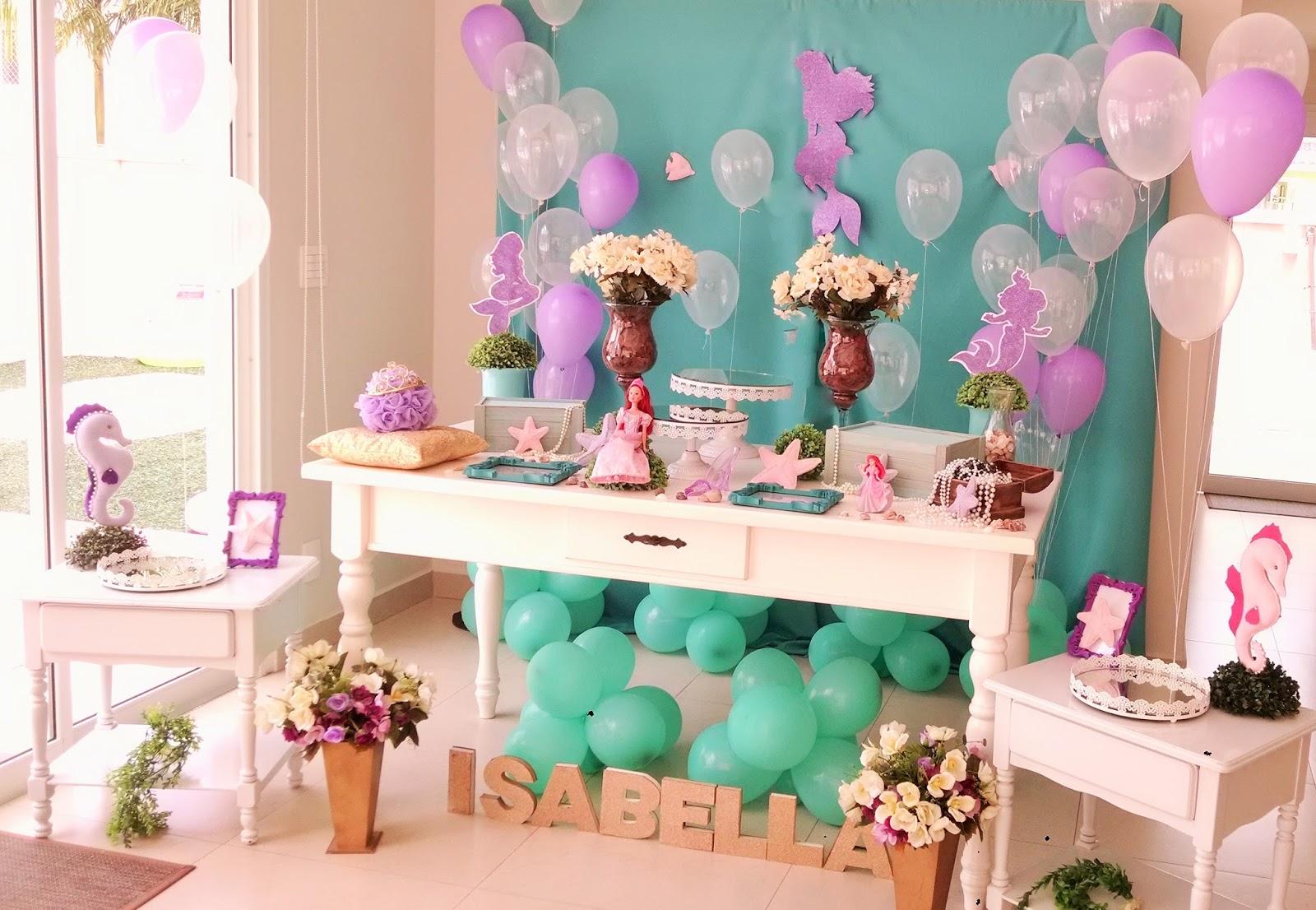 Festa Infantil Ariel Pequena Sereia Ana Estevan -> Decoração De Mesa Para Festa Da Sereia