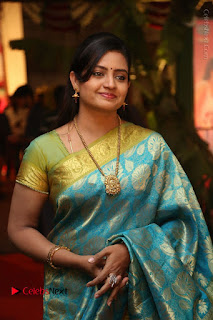 Actress Indraja Stills in Blue Silk Saree at Shatamanam Bhavathi Audio Launch  0007.JPG