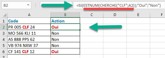 Test logique portant sur une partie du texte dans la fonction SI