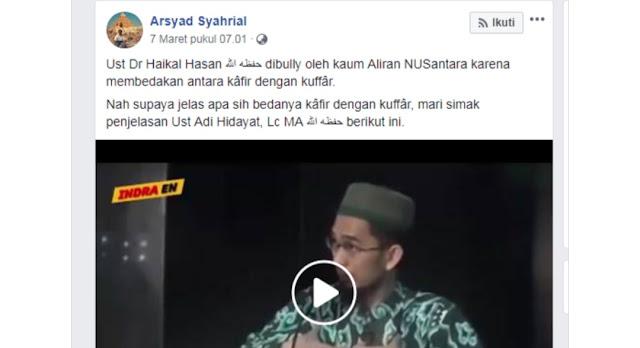 Jahl Murokkab Video Adi Hidayat Digunakan untuk Membela Haikal Hasan Soal Kafir-Kuffar