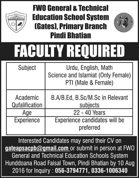 Teaching Jobs in FWO general & Technical Education School System jobs