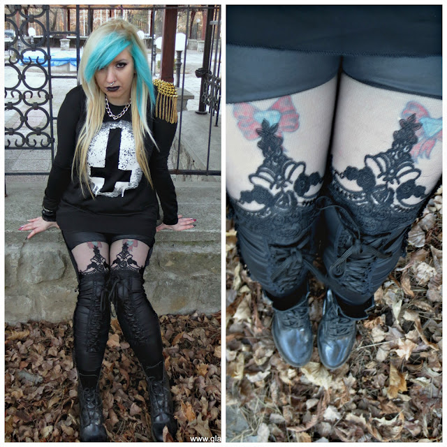 goth girl visualkei punk emo blue hair lace leggings
