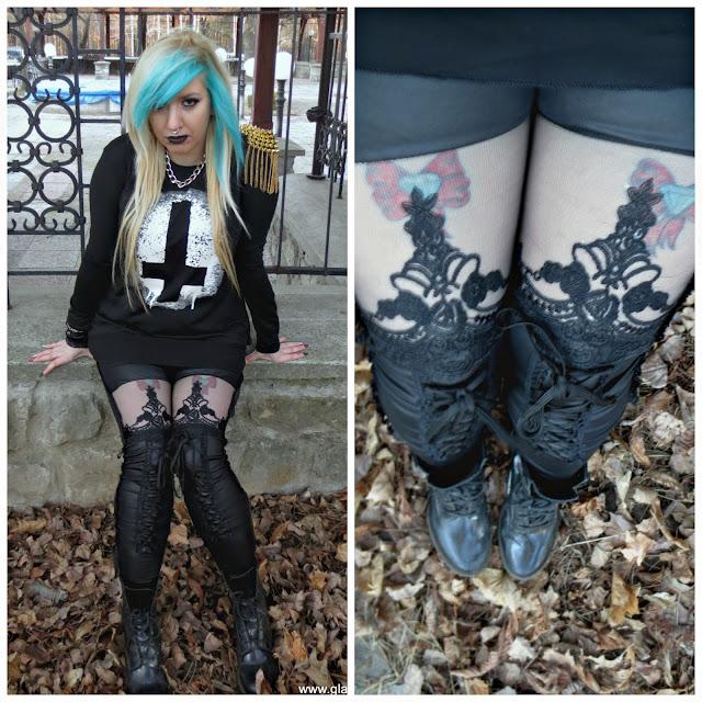 goth girl visualkei punk emo blue hair lace leggings