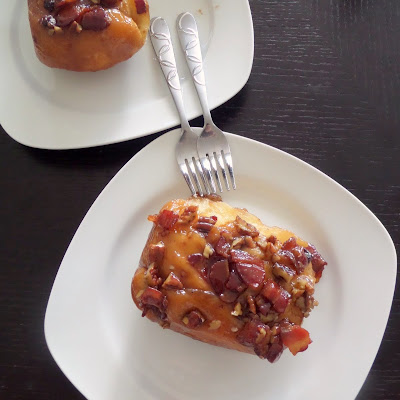 Bacon Pecan Maple Sticky Buns:  Wow!  Bacon and pecan topped cinnamon buns with a sticky maple syrup glaze.  A fantastic start to gameday.