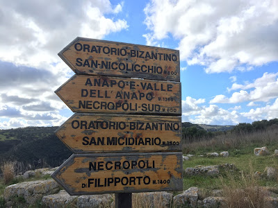 Trail marker at Necropolis of Pantalica.