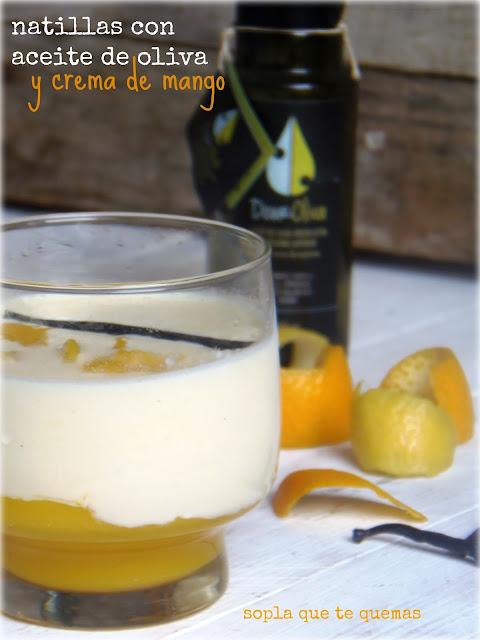 Natillas con aceite de oliva y crema de mango